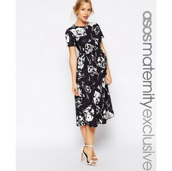 e8c57f1727e ASOS Maternity Dresses   Skirts - ASOS Maternity Black White Floral Midi  Dress 14